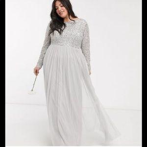 ASOS Maya deluxe maxi tulle sequin dress NWT sz 22